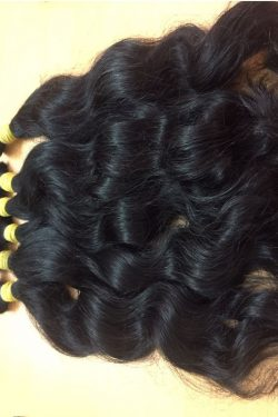 Cambodian natural wavy single drawn hair