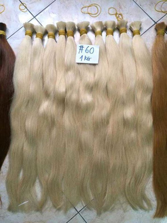 Blonde Color Straight Single Drawn Hair