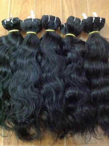 Natural wavy single drawn weft hair