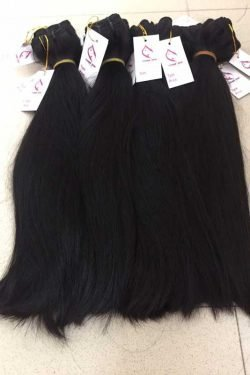 Natural straight double drawn machine weft hair