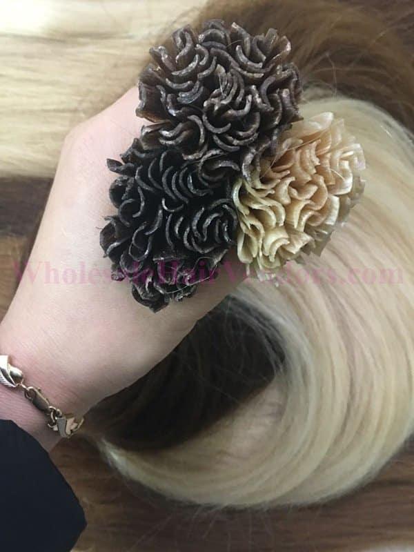 U tip color brown and blonde