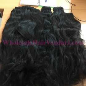 Cambodian natural wavy double drawn machine weft hair