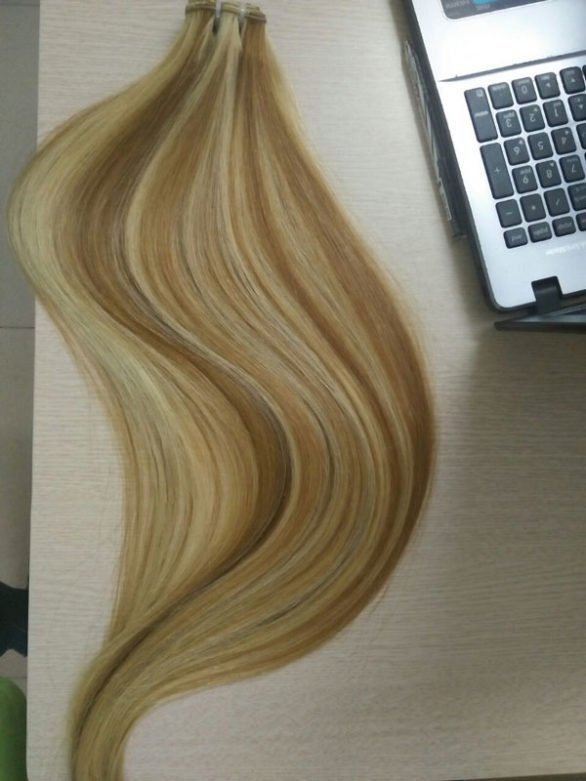 Color straight double drawn hair