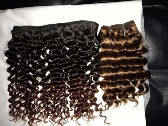 Ombre 1b 4 deep wavy doube drawn weft hair