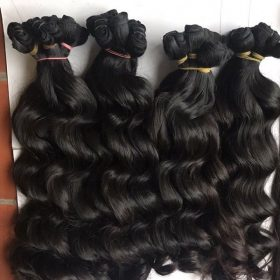 Vietnamese super double drawn machine weft wavy hair