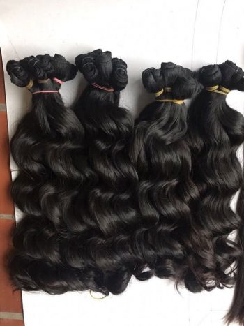 Vietnamese super double drawn machine weft wavy hair