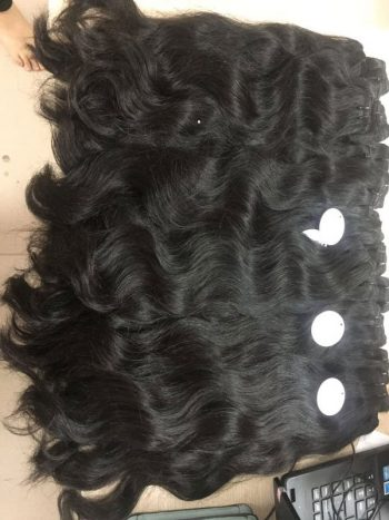 Wavy double drawn weft hair wholesale