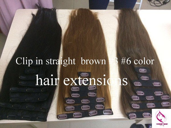 Clip-in-straight -brown-#3-#6-color-hair-extensions