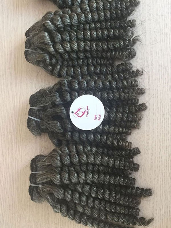 Vietnamese Deep curly gray weft hair