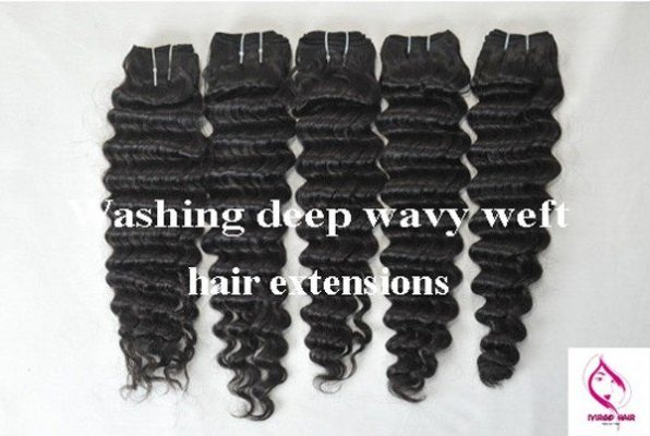 washing-deep-wavy-weft-hair-extensions-keep-the-waves