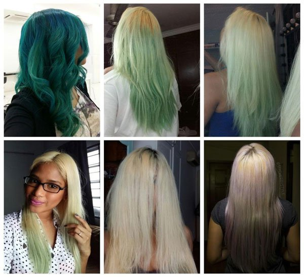 How to get rid of green hair from dying it with natural bleaching methods?