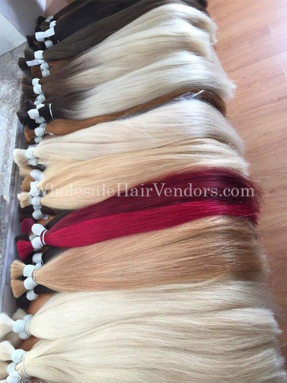 Many colour straight bulk hair