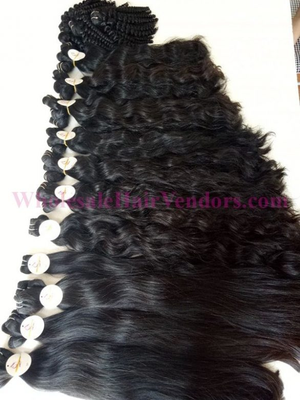 Weft double drawn hair