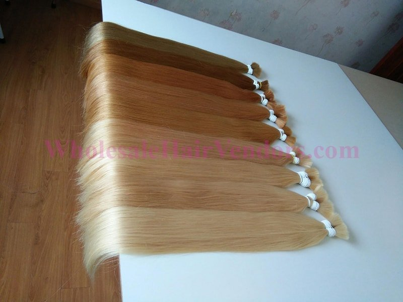 Many colour straight bulk hair