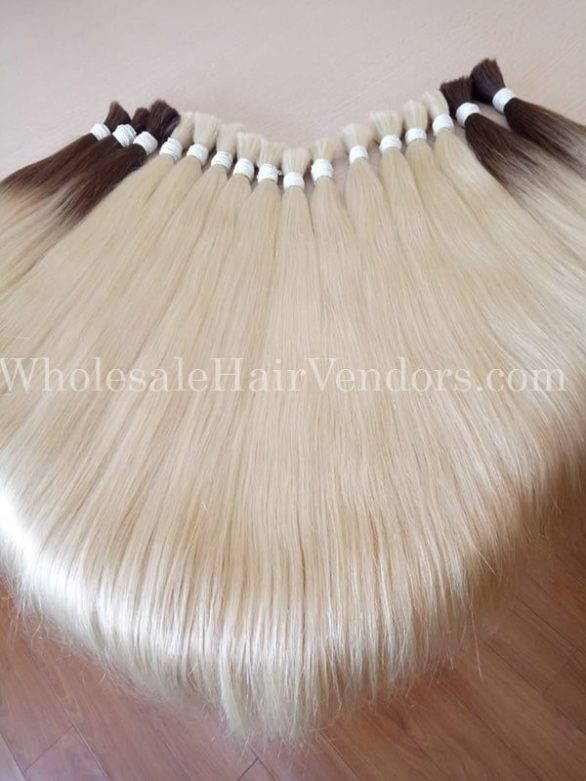 platinum color hair bulk straight