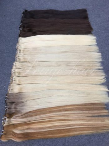 Many color straight weft double drawn