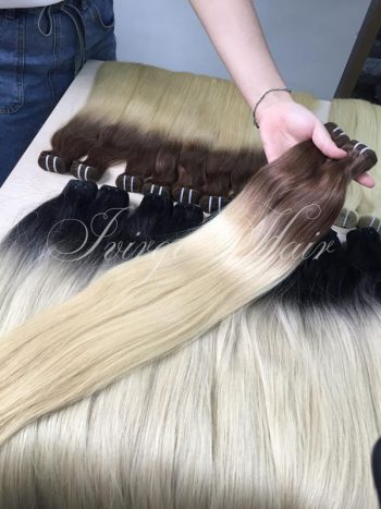Weft hair cold shade 24 inches super double drawn