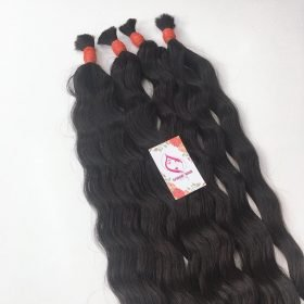 24 INCHES, NATURAL WAVY, BULK, NATURAL COLOR